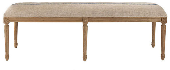 French Six-Leg Upholstered Bench - Blue Stripe