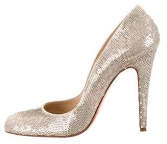 Christian Louboutin Sequin Pointed-Toe Pumps