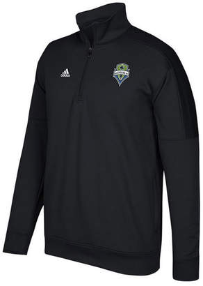 adidas Men's Seattle Sounders Fc Logo Set Quarter-Zip Fleece Pullover