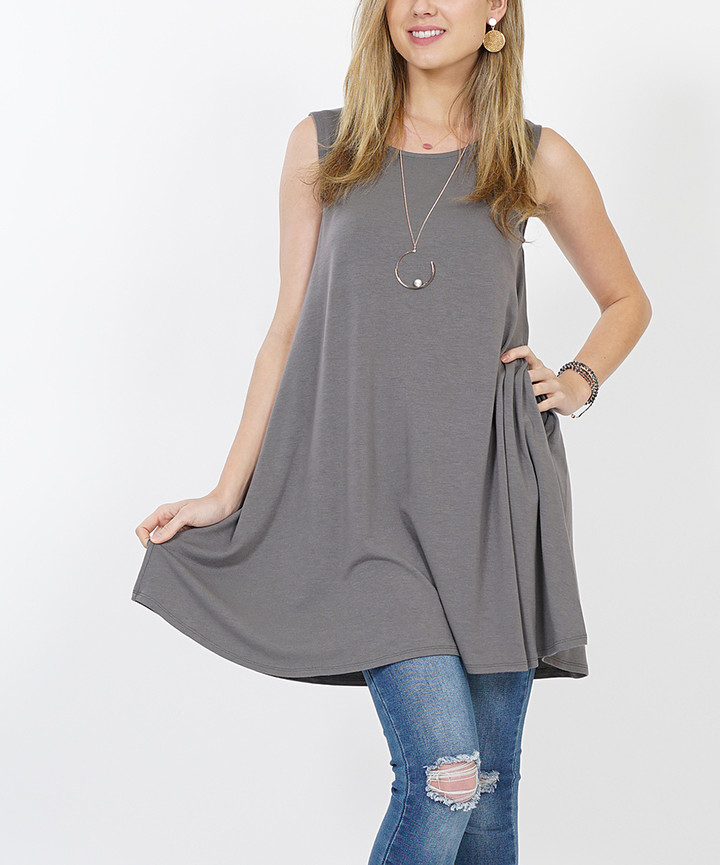Medium Gray Pocket Sleeveless Tunic - Women & Plus