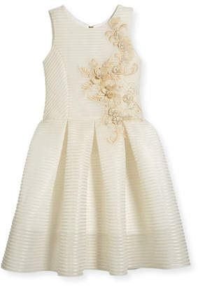 Zoe Parker Perforated Neoprene Stripe Dress, Gold, Size 7-16