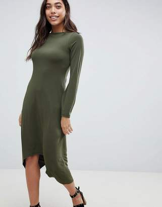 Asos Design DESIGN midi shift dress with curved hem