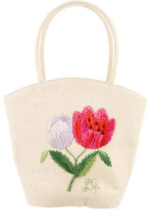 Lulu Guinness Embroidered Wicker Bag
