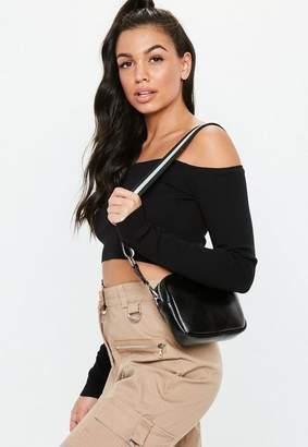 Missguided Black Stripe Strap Cross Body Bag, Black