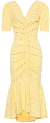 STAUD Panier cotton-blend gingham dress