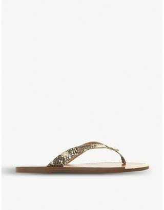 Dune Lagos reptile-print leather sandals