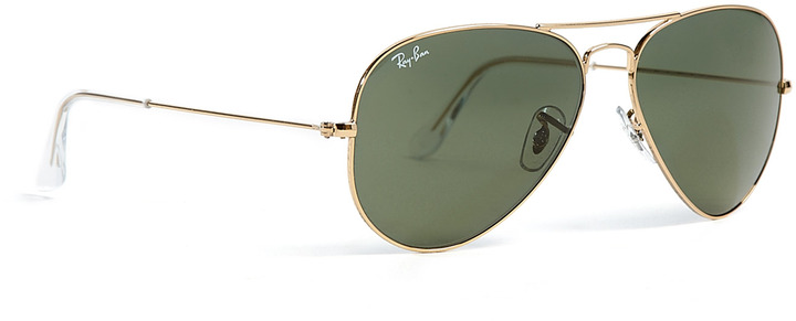 Ray-Ban Green Lens Classic Gold Aviator Sunglasses
