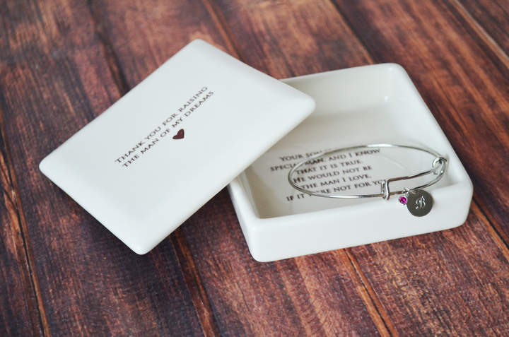 Etsy Mother of the Groom Gift - Square Keepsake Box with Personalized Silver Charm Bracelet - Thank You F