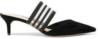 Alexandre Birman Shadow Mesh-trimmed Suede And Grosgrain Mules - Black