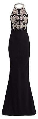Alexander McQueen Women's Rose Embellished Crystal Rope Halter Gown