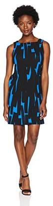 London Times Women's Petites Sleeveless Square Neck Shift Dress