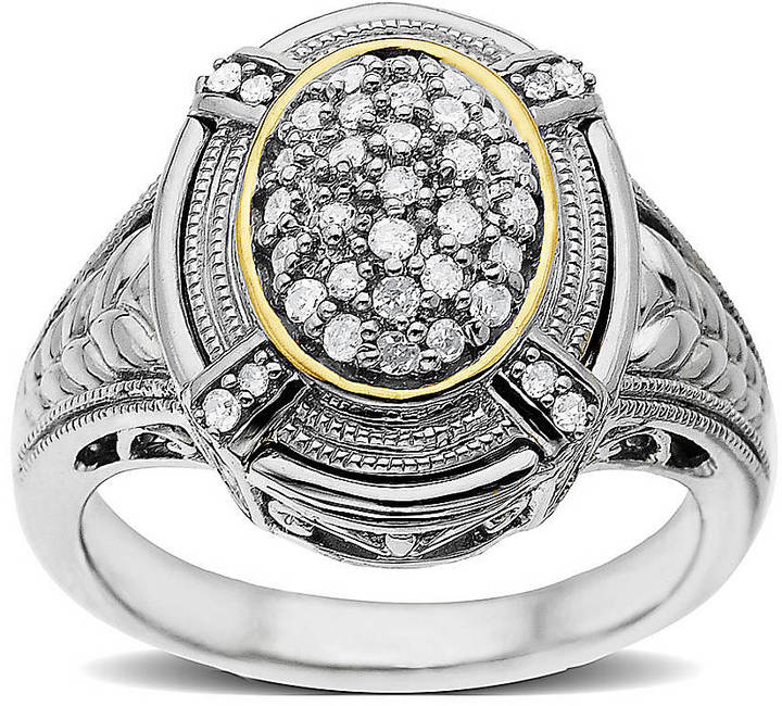 Lord & Taylor Sterling Silver & 14 Kt. Gold Diamond Ring