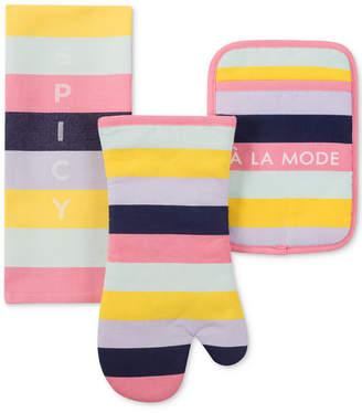 Kate Spade Ice Cream Stripe Kitchen Towel, Oven Mitt & Pan Holder 3-Pc. Set