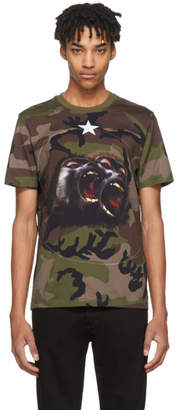 Givenchy Khaki Camo Monkey Brothers T-Shirt