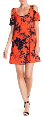 24\u002F7 Comfort Cold Shoulder Floral Print Dress (Plus Size Available)