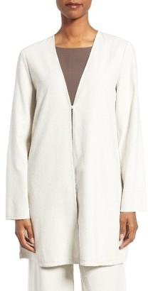 Women's Eileen Fisher Silk V-Neck Long Jacket $238 thestylecure.com