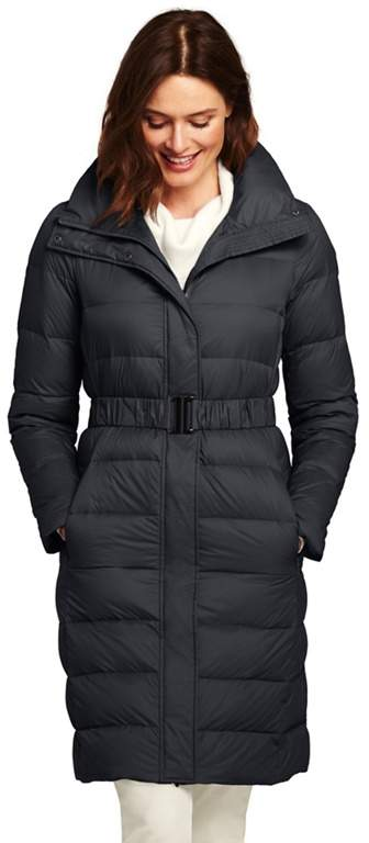 Black Ultra Light Down Coat With Belt