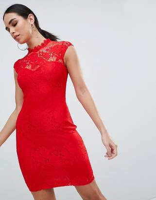 Lipsy Lace Pencil Dress With Contrast Trim