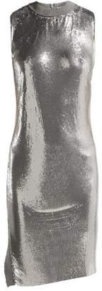 Paco Rabanne Mesh Round Neck Mini Dress - Womens - Silver