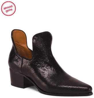 Franco Sarto Leather Pointy Toe Stacked Heel Booties