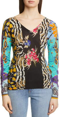 Etro Patchwork Print Silk & Cashmere Blend Sweater