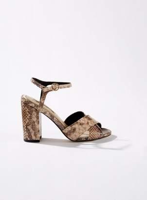 818e76dbc97 Miss Selfridge HADARA Brown Snake Cross Over Block Heeled Sandals