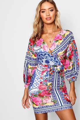 boohoo Printed Off Shoulder Wrap Bodycon Dress