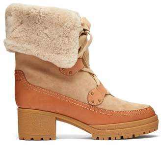 See by Chloe Eileen Lace Up Shearling And Suede Boots - Womens - Light Tan