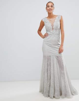 Forever Unique plunge fishtail maxi dress