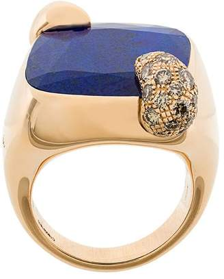 Pomellato 18kt rose gold Ritratto lapis lazuli and diamond ring