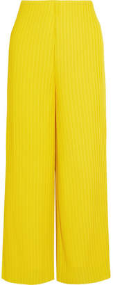 Celie Ribbed Crepe Wide-leg Pants - Bright yellow