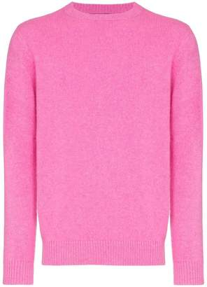The Elder Statesman neon pink crew neck cashmere jumper