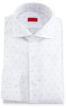 Isaia Dobby-Dot Dress Shirt, White/Navy