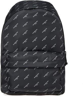 Balenciaga All Over Logo Nylon Backpack