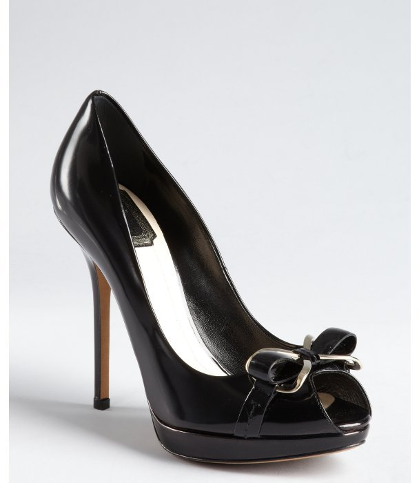 Christian Dior black leather silvertone bow peep toe platform pumps