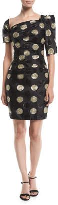 Milly Vivian Asymmetric Polka Dot Fil Coupe Dress