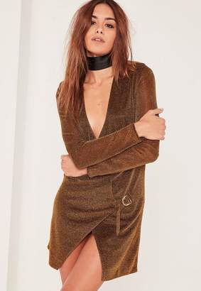 Missguided Bronze Metallic Wrap Dress
