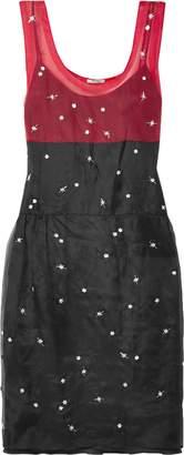 Miu Miu (ミュウミュウ) - ミュウ ミュウ 装飾付き ツートーン レイヤード シルクオーガンザ ワンピース