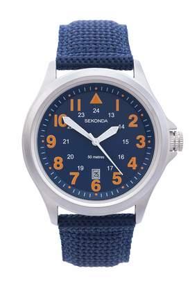 Sekonda Men's Quartz Watch with Beige Dial Analogue Display and Green Nylon Strap 3341.27
