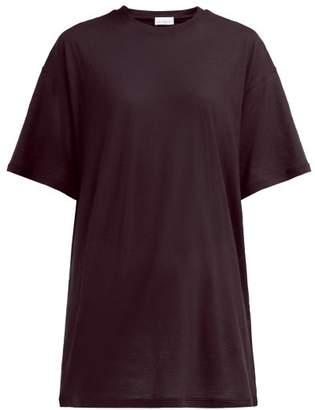 Raey Long Line Cotton Jersey T Shirt - Womens - Burgundy