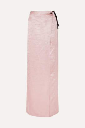 Ann Demeulemeester Crinkled-satin Wrap Maxi Skirt - Pink