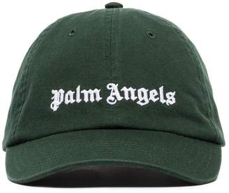 Palm Angels green and white logo embroidered cap