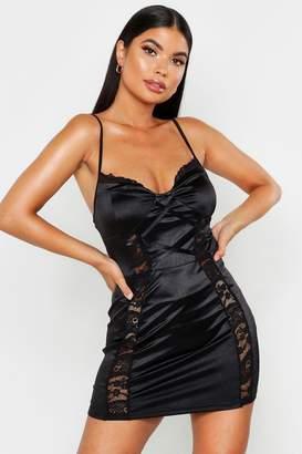 boohoo Petite Lace Detail Satin Bodycon Dress