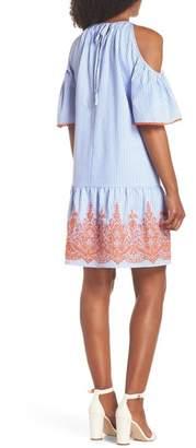 Maggy London Stripe Cold Shoulder Shift Dress (Regular & Petite)