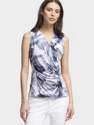 DKNY Watercolor Floral Ruched V-Neck Top