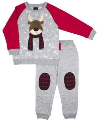 Little Rebels Christmas Fleece Sweatshirt & Jogger Pants, 2pc Outfit Set (Baby Boys & Toddler Boys)
