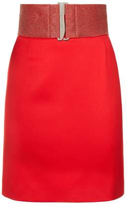 La Perla Cocktail Rubine Red Virgin Wool Short Skirt With Swarovski Crystal Caviar Belt