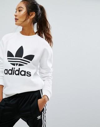 Adidas adidas Originals Oversized Sweatshirt With Trefoil Logo $60 thestylecure.com
