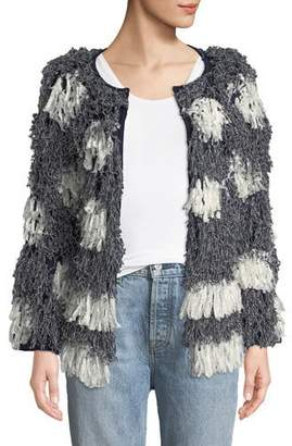 Tabula Rasa Kayes Pattern Long-Sleeve Fringe Jacket