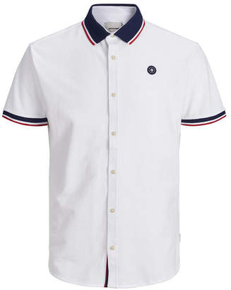 Jack and Jones Men Summer Polo full button Shirt with contrast details